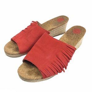 UGG | Suede Fringe Wedge Sandals